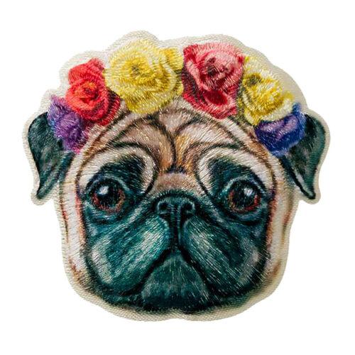 5x5,2cm Aufnäher bunt Hund Mops Gesicht Rosen Bügelbild