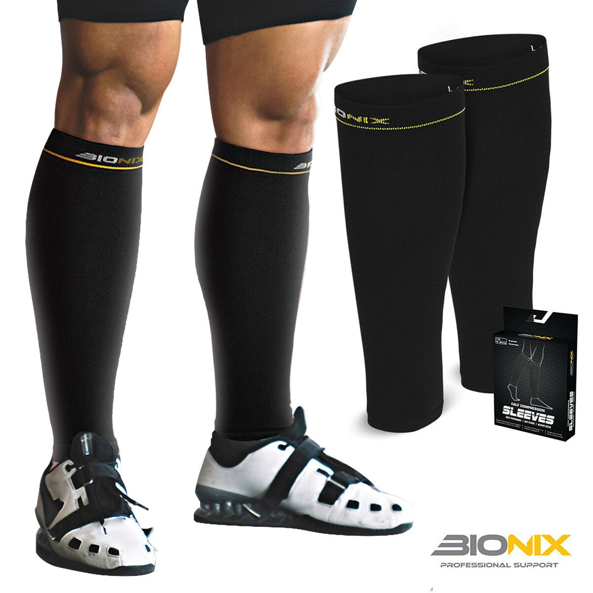 bb0e73d4cd Compression Calf Sleeves Pair Shin Splints Running Support Guards Socks  Cycling for sale