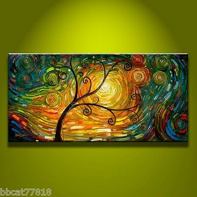 MODERN ABSTRACT HUGE WALL ART OIL PAINTING ON CANVAS art tree (No frame)
