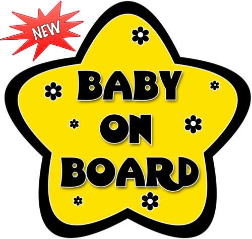 Non Personnalisé Bébé à Bord Voiture Signe ~ jaune et noir Daisy ~ Nouveau!
