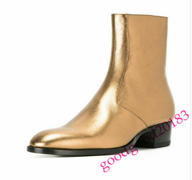 New Men Chelsea Boots Real Leather gold High top Manual Ankle Boots shoes Hot 18