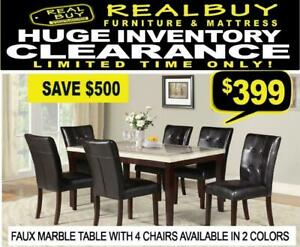 Huge Inventory Clearance @ Real Buy Furniture Brand New Faux Marble Dining Set $399 Saskatoon Saskatchewan Preview
