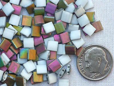 *New 2015 Color* 10 gr Miyuki Tila Bead - #TL-4559 - Vitrail/White Matte