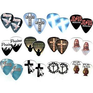 24-Bulk-Pack-FAITH-Religious-Picks-JESUS-CROSS-Praise-Christian-Guitar-Pick