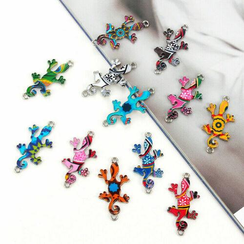 10Pc Alloy Colorful Gecko Connector Charms Fit DIY Necklace Bracelet Making Cute