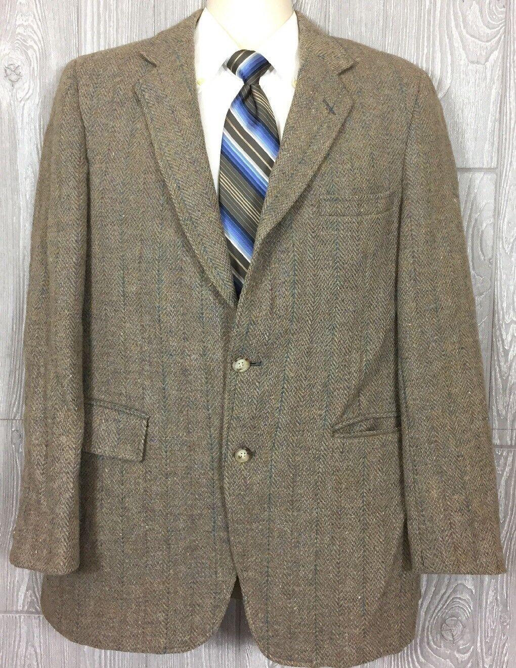 Harris Tweed Mens Beige Scottish Wool Striped 2 Button Blazer Sz 42R (t12)