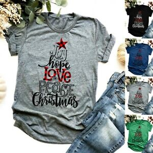 Womens T shirt Crew Neck Short Sleeve Casual Loose Solid Sum