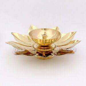 Lotus Diya In Brass For Temple Decor Lotus Flower Design Diya Om