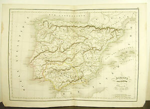 L-039-Antique-Spain-The-Forming-Spain-Card-Antique-1838-Ancient-Map-17-11-16in-15in