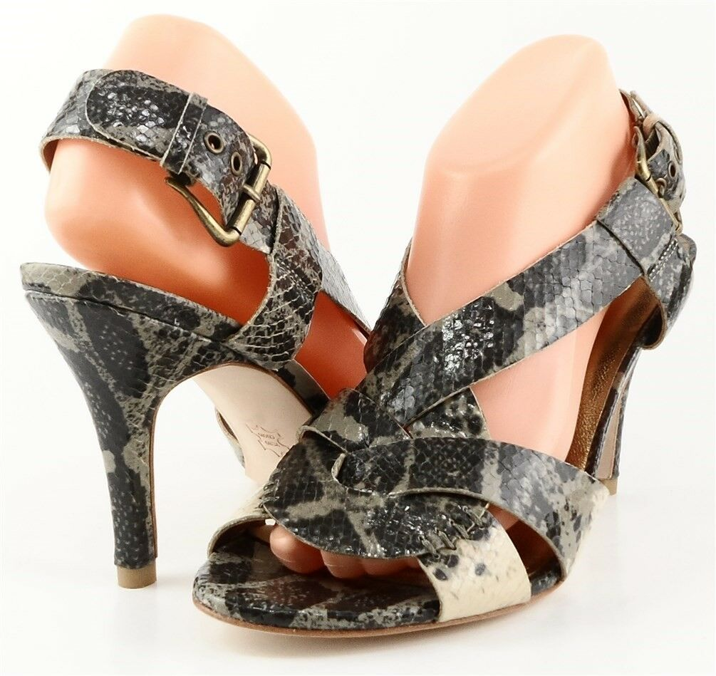 295 CYNTHIA VINCENT GEORGIA gris Multi Snake Leather Designer Strappy Sandals 7