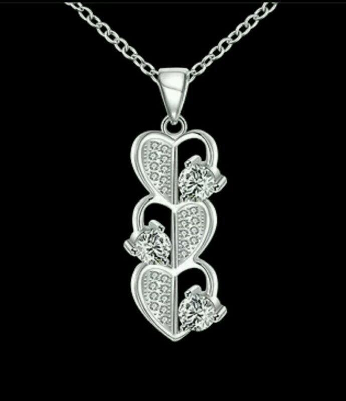 Crystal Heart Necklace Wedding Bride Prom Birthday Mum 599