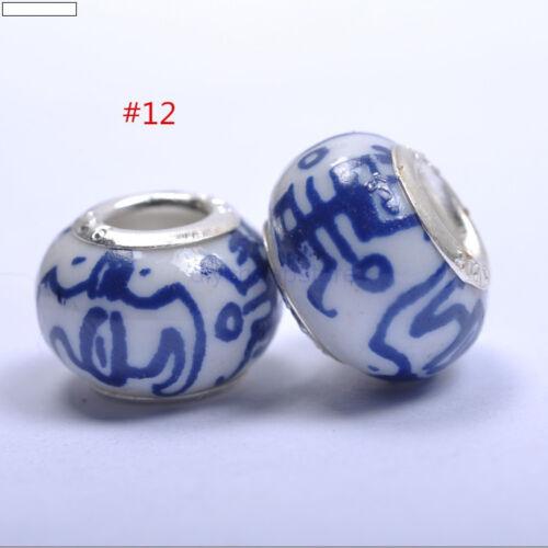 10PCS TWENTY Assorted Ceramic Beads Charms To fit European Bracelets 14MM