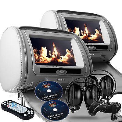 """Gray 2x 7"""" HD Car Headrest Digital DVD SD Player Pillow Monitor USB IR Headsets"""