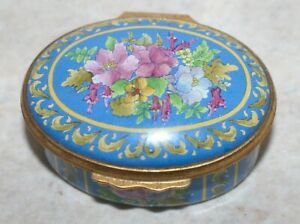 Halcyon-Days-Enamels-Pin-Trinket-box-Floral-Display-Dated-1962-1987