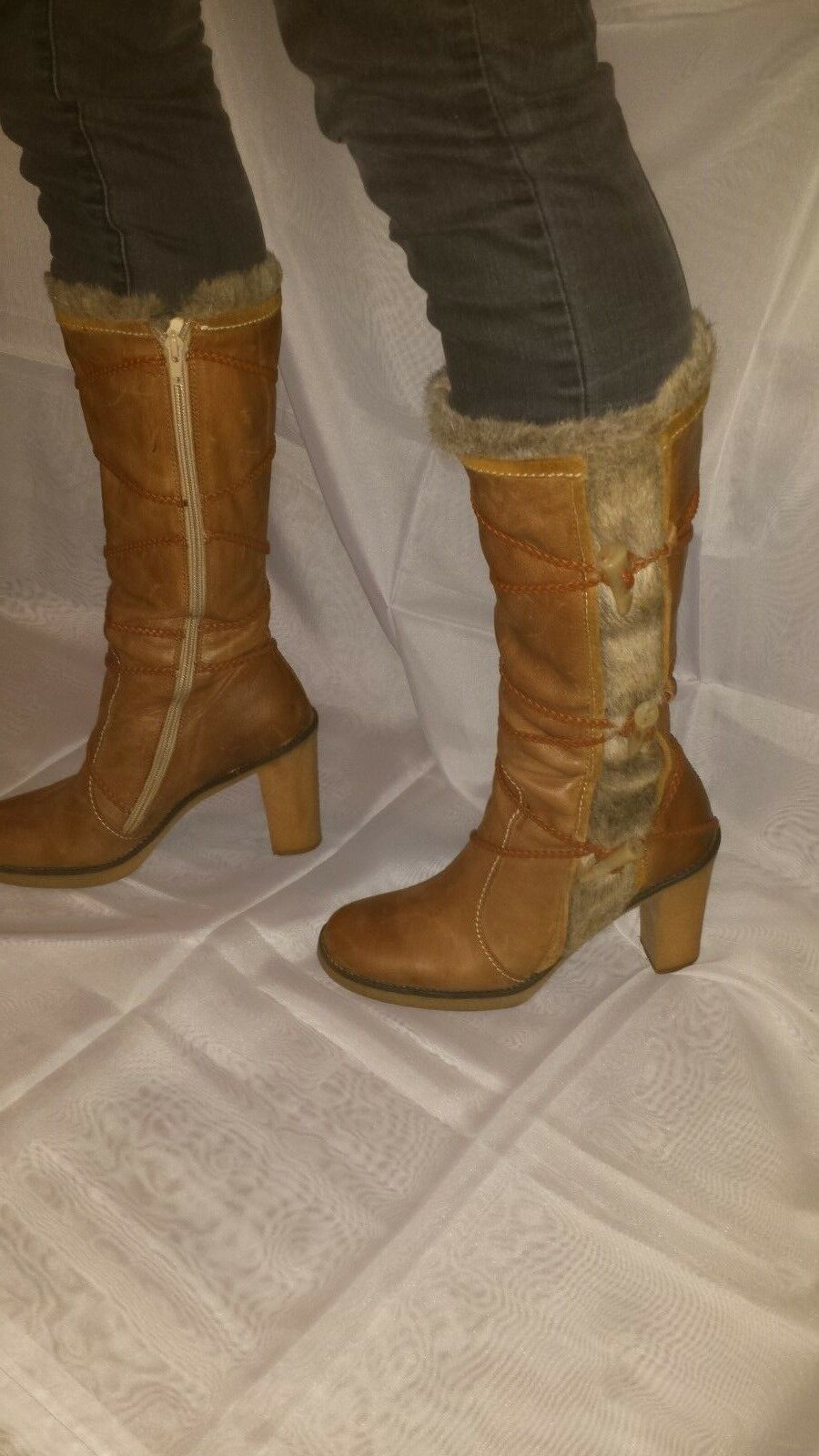 KG by Kurt Geiger Boots. Tan leather and faux fur. Size 7.