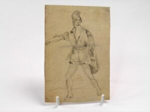 Antique-19th-century-Continental-pencil-drawing-full-length-male-portrait-study