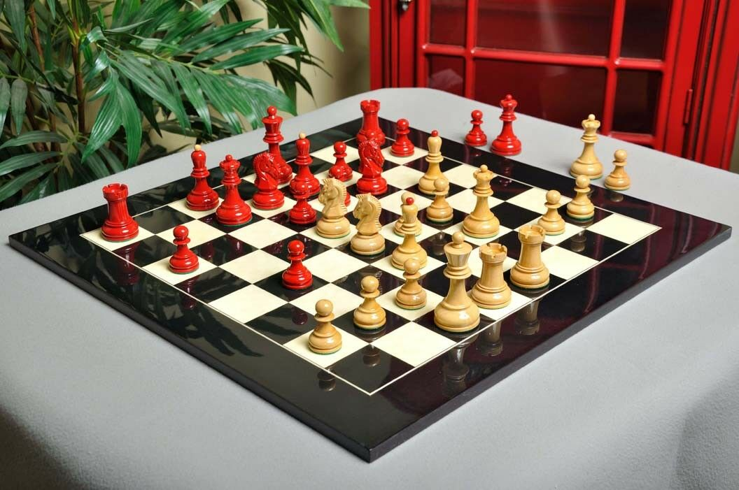 The Dubrovnik Chess Set - Pieces Only - 3.75    King - Red and Natural Lacquered dc2239