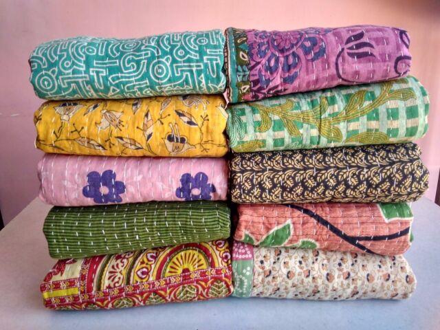 10 Vintage Kantha Quilt Wholesale Lot Handmade Antique Throws Reversible ON SALE