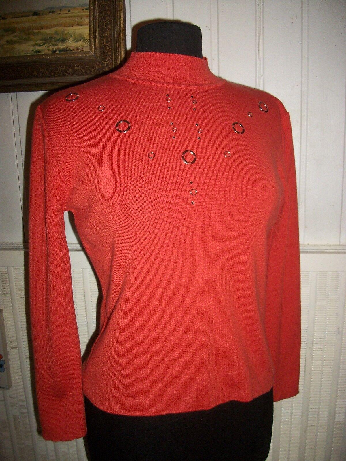 Pull acrylique  laine mérinos orange UN JOUR AILLEURS T.2 40 42 strass anneaux