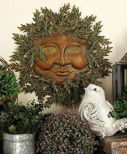 Image Is Loading Metal Green Leafs Sun Decor Garden Art Indoor