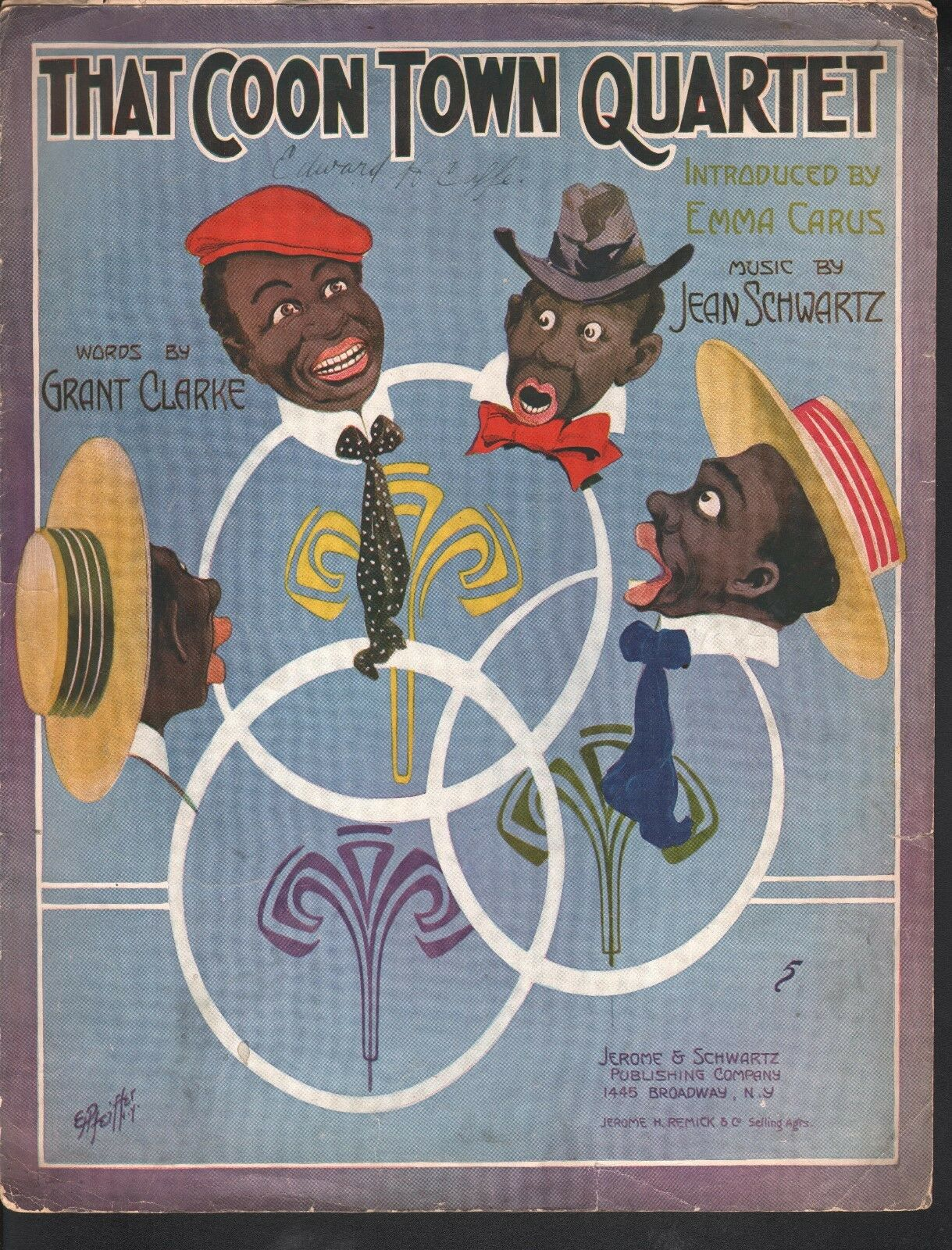That Coon Town Quartet 1912 Large Format Sheet Music