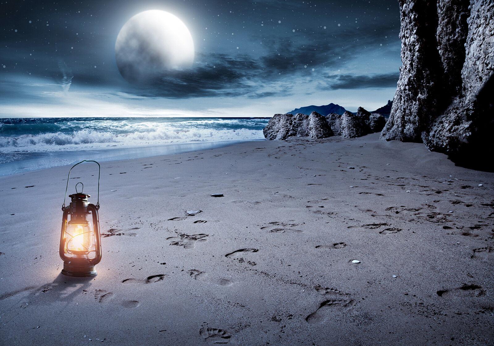 VLIES Fototapete-STRAND-(13016)-Mond Wellen Meer Beach Küste Kliff Wolken Berge