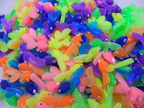 Long Party Favors 144 pcs Toy Goldfish Soft Vinyl Assorted Colors Cute 1.5 in