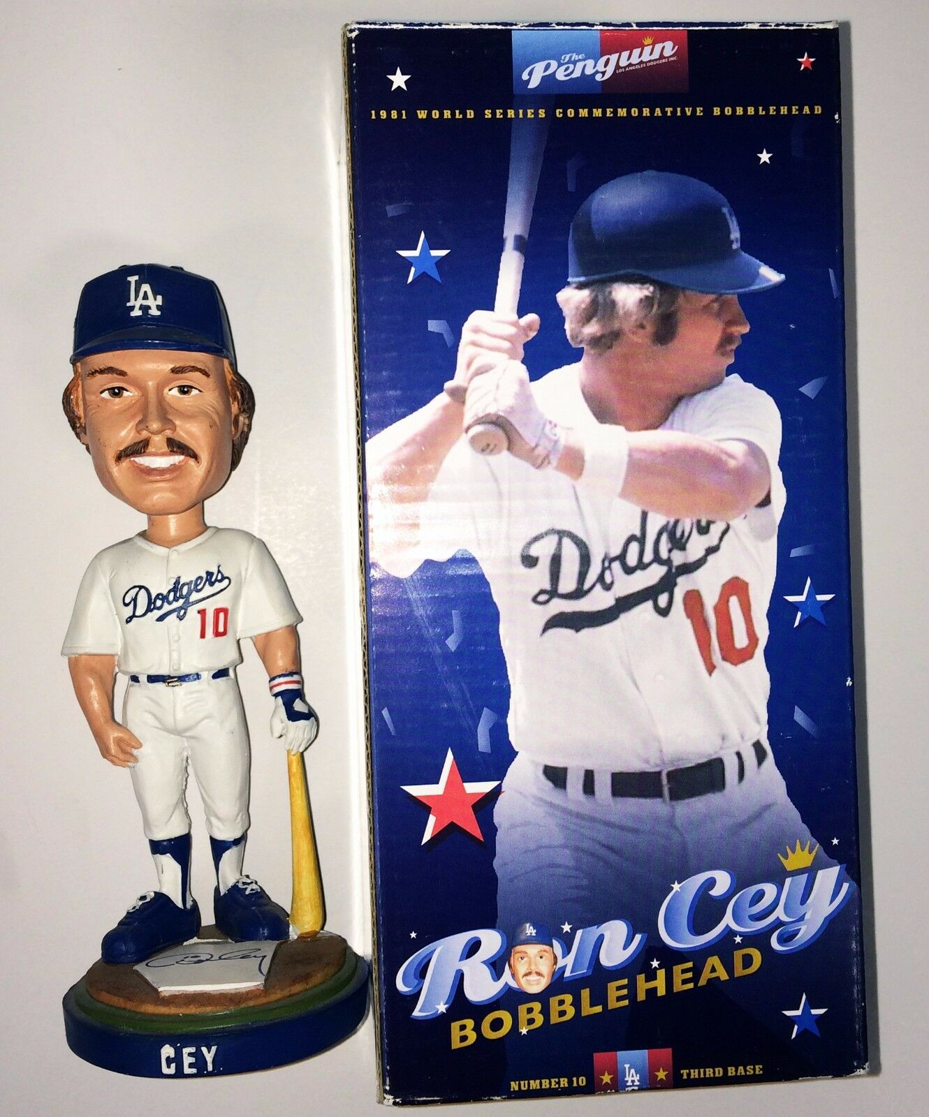 Ron Cey Signed Los Angeles Dodgers Baseball *Penguin Bobblehead JSA