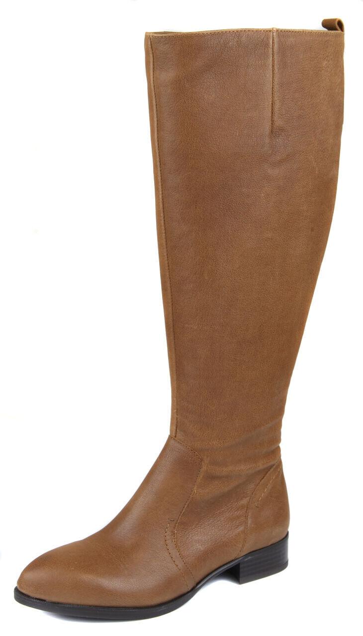 Nine West Para Mujer Coñac nicolah Alto Cuero Zapatos bota de montar a caballo Ret  Nuevo