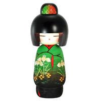 "Japanese Wooden Dolls Kokeshi Girl in Green Floral Kimono 8"""
