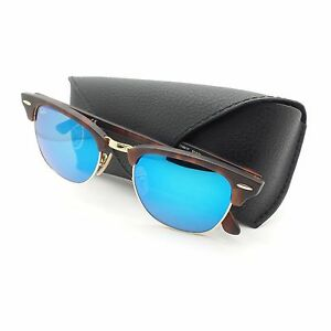 03727563437 Ray Ban Clubmaster 3016 1145 17 Sand Havana Blue Mirror New ...