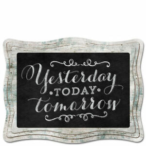 Scallop-Framed-Chalkboard-Sign-Wall-Plaque-YESTERDAY-TODAY-TOMORROW-Braided-Cord