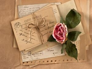 Decoration Carte Postale.Details About 6690 Carte Postale Old Letters With Old Rose Poster Art Wall House Decoration