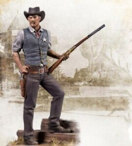 1-24-Resin-Kit-Figure-Model-American-West-Cowboy-Man-Sheriff-Unpainted-With-Base