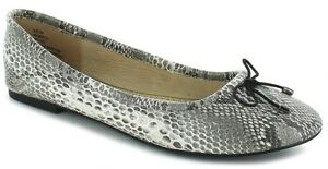 ballet-flats-SNAKE-womens-SHOES-size-12-13-14-TAUPE-bow-accent