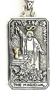 Details about MAGICIAN TAROT CARD DOG TAG STERLING 925 SILVER PENDANT