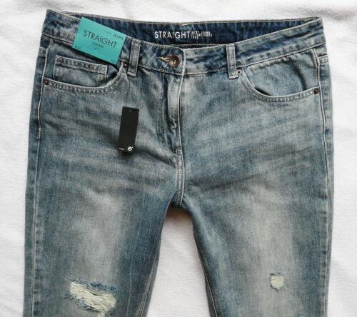 Bnwt NEXT taille haute coupe droite jeans vieilli Rips boyfit 6//8//10//12//14 R//L