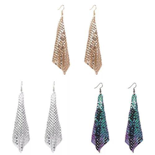 Chain Mail Mesh Metalic Drop Dangle Earrings UK
