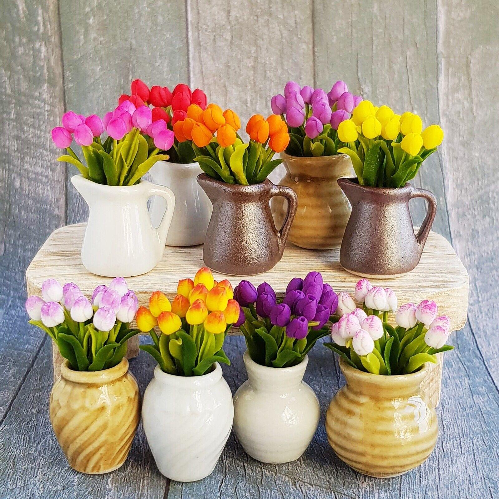 27 Mixed Tulip Clay Flower in Ceramic Pot Dollhouse Miniature Fairy Garden Decor
