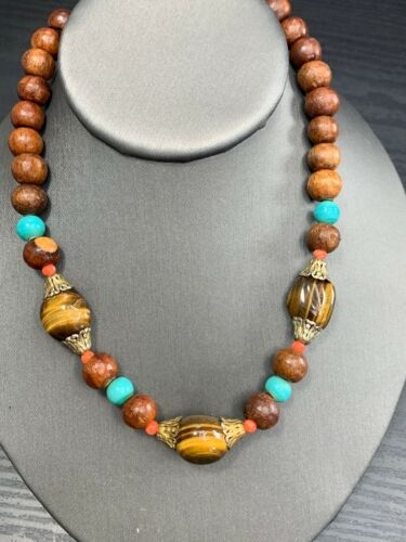 Jewelry Bundle Set Necklaces Bracelet Vintage 1960/'s Jasper Carnelian Leather Genuine Natural Stones Hippie Boho 3 piece set Artisan Jewelry