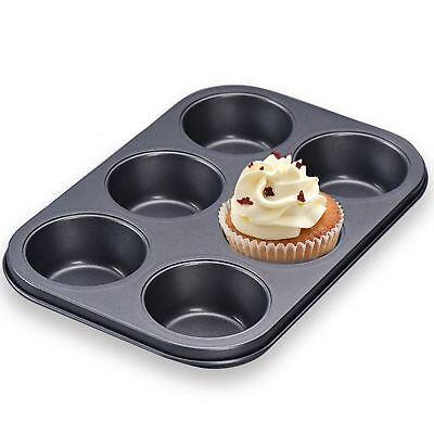 6 Tazza Nonstick Acciaio Muffin Cupcake Torta Cuocere Padella Profonda Vassoio Di Latta Piatti Da Forno-mostra Il Titolo Originale
