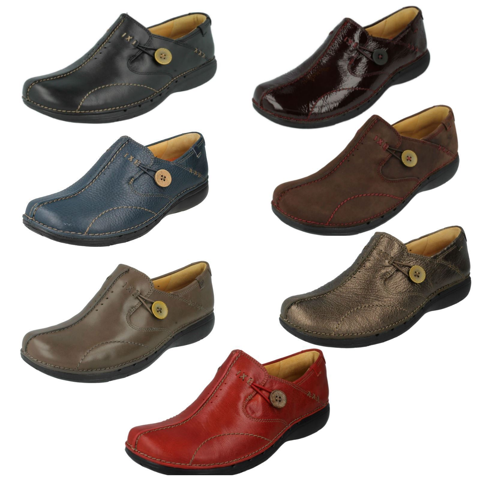 Ladies Clarks scarpe Slip - on  Skin a loop 4  negozio a basso costo