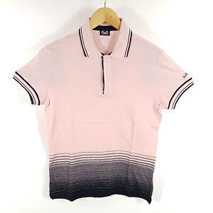 Dolce-amp-Gabbana-Poloshirt-Herren-M-wie-S-Rosa-Schwarz-Gestreift-Fade-Out-Shirt