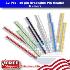 12 Pcs 40 Pin Breakable Pin Header 254mm Single Row Male Header Connector Kit