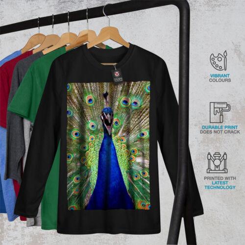 Wellcoda Belle Peacock Tail Homme T-shirt à manches longues BIG BIRD design graphique