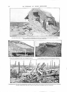 WWI-BATAILLE-DE-LA-SOMME-Artillerie-Ruines-Maison-Mitrailleuse-Gun-ILLUSTRATION