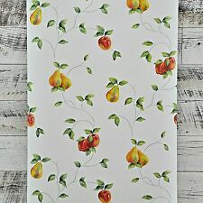 4 ROLL LOT Country Kitchen Farmhouse Fruit Apple Pear Vine on White Wallpaper