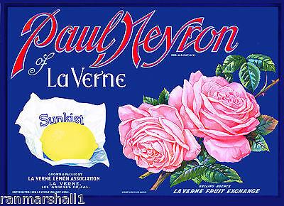 La Verne Lordsburg California Paul Neyron Lemon Citrus Fruit Crate Label Print