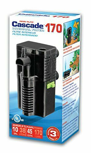 Cascade 170 Submersible Aquarium Filter Cleans Up to 10 Gallon Tank Fish Tank