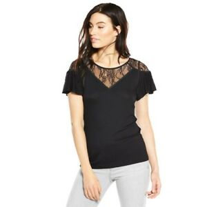V-By-Very-Lace-Angel-Sleeve-Top-Black-Size-UK-16-rrp-17-DH180-OO-22